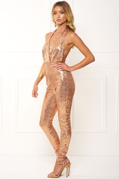 Honey Couture MAE Rose Gold Halter Jumpsuit Australian Online Store Honey Couture AfterPay ZipPay