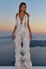 Honey Couture SHIMMY White Tassle Jumpsuit Australian Online Store Honey Couture AfterPay ZipPay