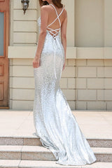 Honey Couture NIKKI Silver Low Back Sequin Mermaid Formal Gown Dress Australian Online Store Honey Couture AfterPay ZipPay