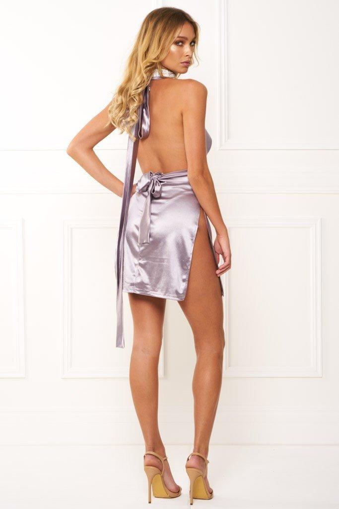 Honey Couture FELICIA Flash Silver Halter Mini Dress Australian Designer Label Online Store AfterPay ZipPay