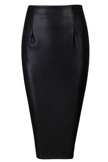 Skirt - Honey Couture JAYDA Vegan Leather Black Pencil Skirt