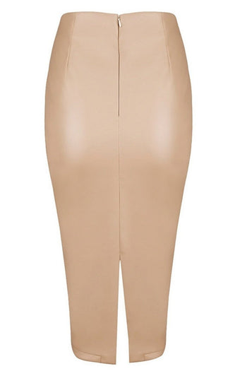 Skirt - Honey Couture JAYDA Vegan Leather Nude Pencil Skirt