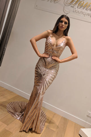 Honey Couture TILDA Gold Low Back Sequin Mermaid Formal Gown Dress