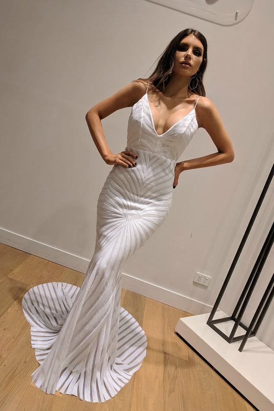 Honey Couture TILDA White Low Back Sequin Mermaid Formal Gown Dress