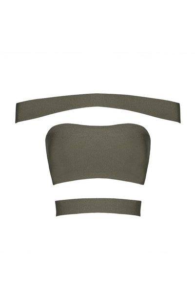 Top - Honey Couture HALLIE Sexy Khaki Bandage Crop Top