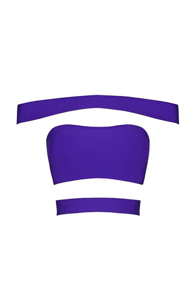 Top - Honey Couture HALLIE Sexy Purple Bandage Crop Top