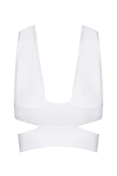 Top - Honey Couture KYLIE White Bandage Crop Top