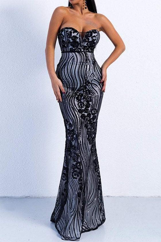 Honey Couture TULA Black & Silver Sequin Strapless Formal Gown DressHoney CoutureHoney Couture AfterPay OxiPay ZipPay