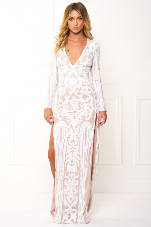Honey Couture EBONIQUE White Long Sleeve Sequin Slit Gown Australian Online Store Honey Couture AfterPay ZipPay
