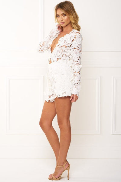 Honey Couture BEATRICE White Three Dimensional Long Sleeve Lace Playsuit Set Australian Online Store Honey Couture AfterPay ZipPay