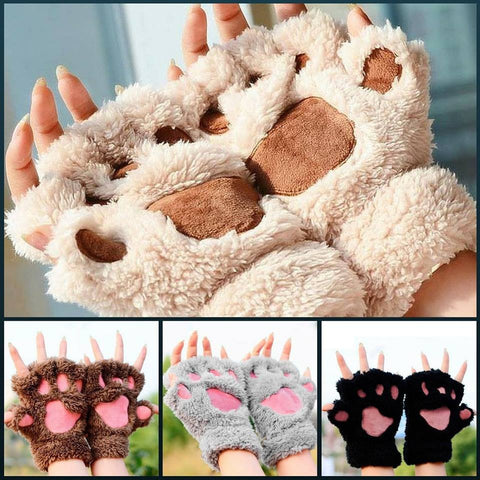Fluffy Cat/Bear Paw Gloves - 1000Miles
