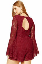 Plus Size Floral Lace Long Bell Sleeves Lace-up Romper