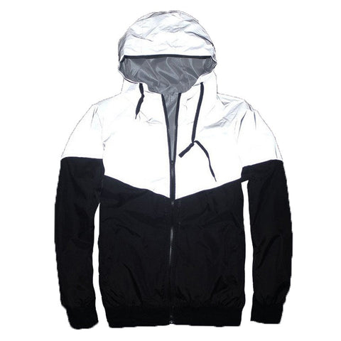 Reflective Windbreaker jacket  with a hood in white