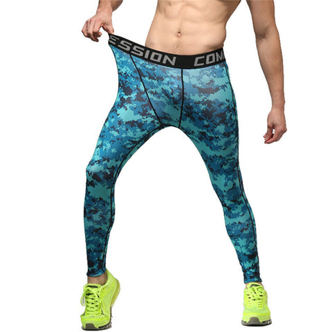 Men's Fitness Pants Camo Print Slim Compression Leggings