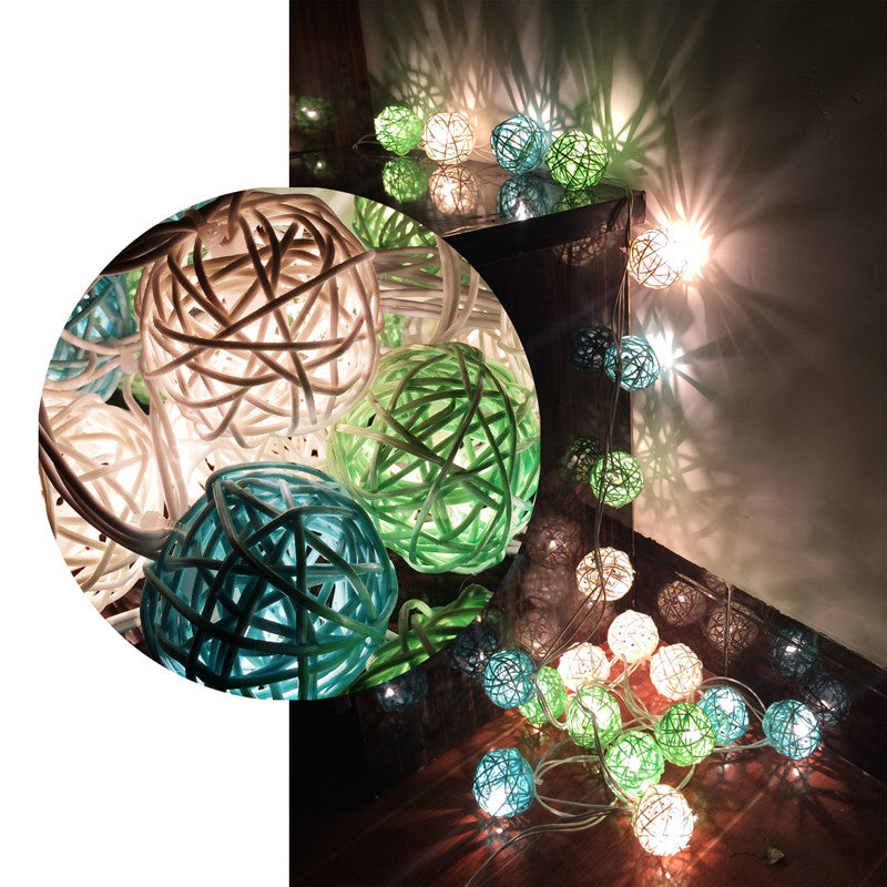 3M White & Blue & Green 4CM Rattan Christmas/holiday decoration string Warm white lights - 1000Miles