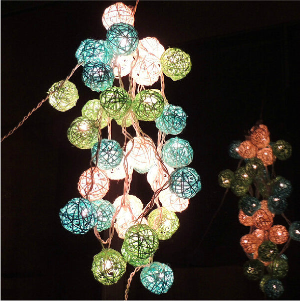 3M White & Blue & Green 4CM Rattan Christmas/holiday decoration string Warm white lights