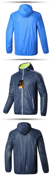 Windbreaker jacket with a hood in orange, army green, blue, sky blue and red