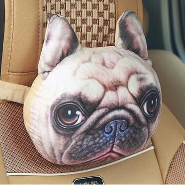 3D Printed Dog Face Car Headrest Pillows