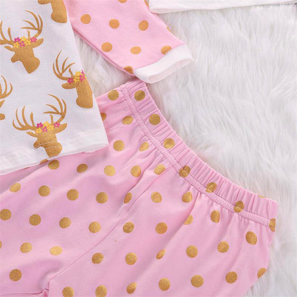 Baby Girls  Deer Long Sleeve + Pants + Hat 3pcs Outfits Set