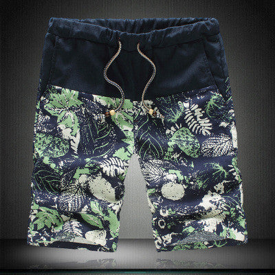 Summer Fashion Men's Casual Linen Shorts Trousers with Mosaic Flower Pattern Big Yards