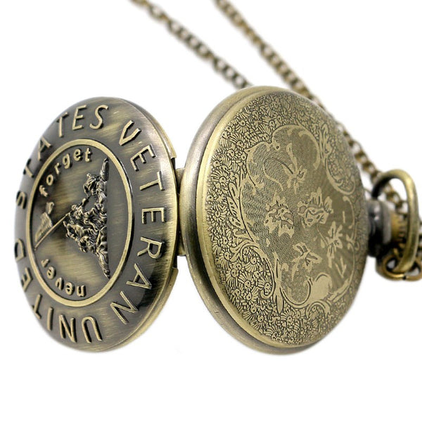 U.S VETERAN BRONZE QUARTZ POCKET WATCH WITH NECKLACE CHAIN