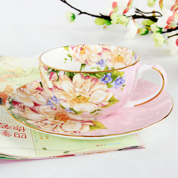 Gold foil/Pumpkin Type Bone China Tea Coffee / Tea Cup Sets (8 colors)