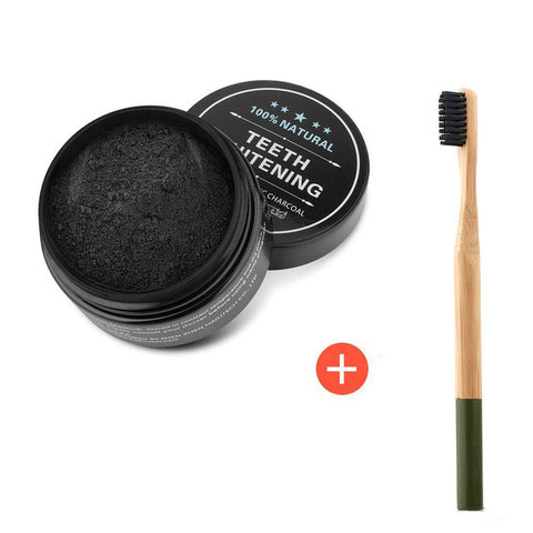 ACTIVATED CHARCOAL WHITENING POWDER WITH BAMBOO TOOTHBRUSH