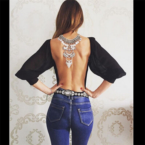 Backless Chiffon Blouse