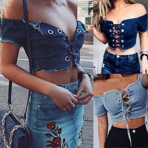 Denim Bustier Crop Top