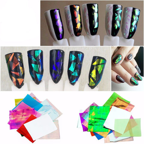 21pcs/pack Holographic DIY Nail Art Broken Glass Foil Finger Stencil
