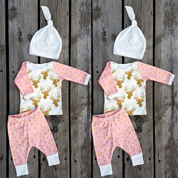 Baby Girls  Deer Long Sleeve + Pants + Hat 3pcs Outfits Set - 1000Miles