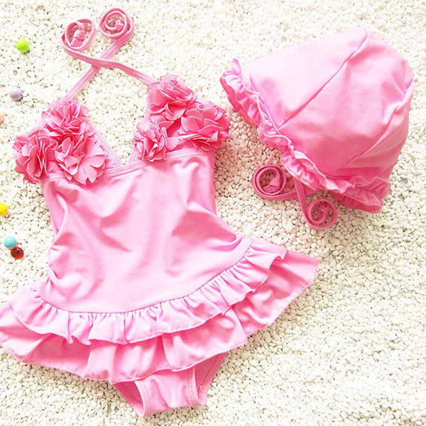 2pcs Baby Girls Swimwear Kids Swimming one piece lace sweet Bathing Suit Swimsuit with Cap