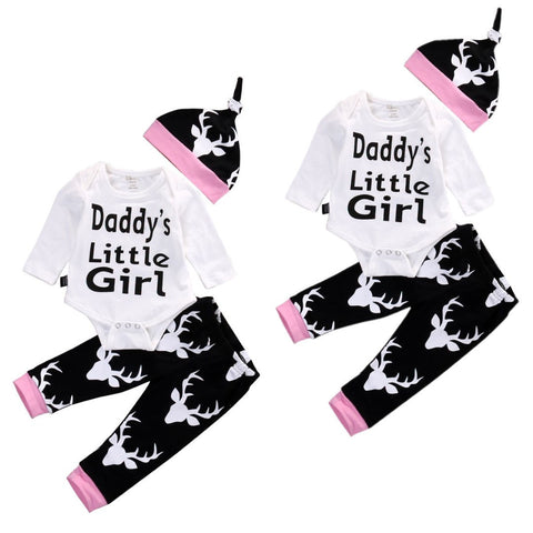 3pcs Black Pink Baby Deer Long Sleeve Romper Bodysuit Pant Hat - 1000Miles
