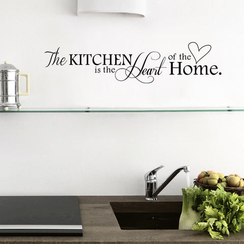 """ The Kitchen is The Heart of the Home"" Letter Pattern Wall Sticker - 1000Miles"