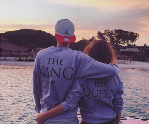 Couples Matching KING QUEEN Long Sleeve Hoodies