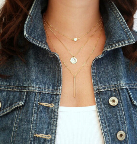 3 Layers Gold Sliver Chain Necklac