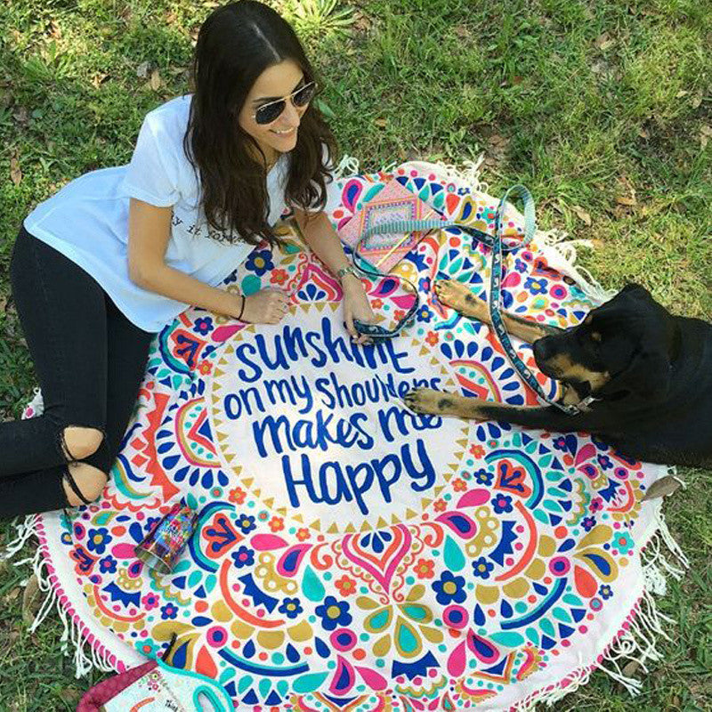 SUNSHINE MANDALA BEACH THROW BLANKET