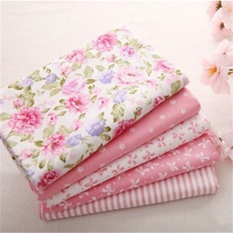 40*50CM 5PCS Sweet Pink Printed Cotton Fabric