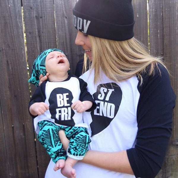 """BEST FRIEND"" Mother and Kid Matching Clothing Outfit - 1000Miles"