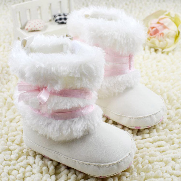 Newborn Baby Girl Bowknot Fleece Snow Boots Booties White Princess Shoes - 1000Miles