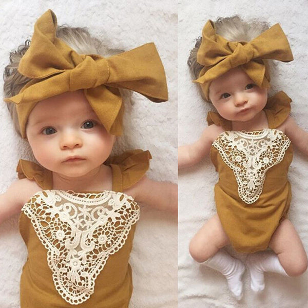 Baby Girl Headband Flower Patchwork Bow Jumpsuit Lace Bodysuit - 1000Miles