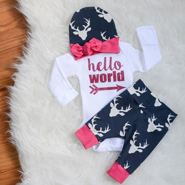 3pcs Baby Hello World Outfits Set