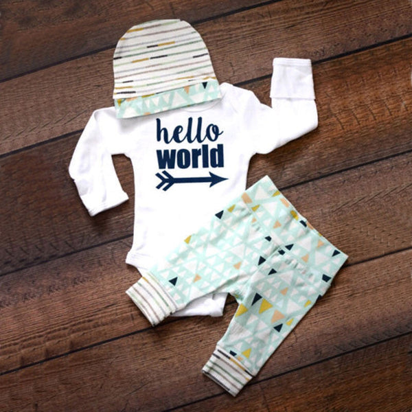 3pcs Baby Hello World Outfits Set - 1000Miles