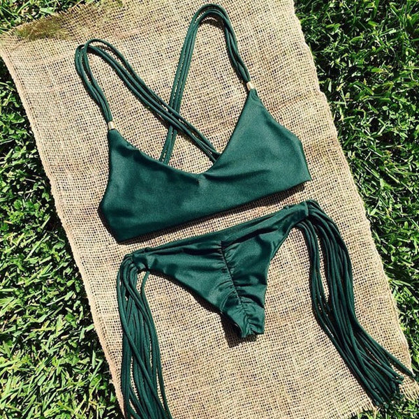 Sexy Tassel Green Beachwear Sexy Bathing Suit Biquinis - 1000Miles