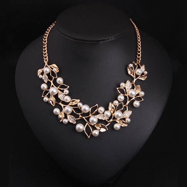 Simulated Pearl Pendants Gold Plated Leaves Statement Necklace Jewelry - 1000Miles