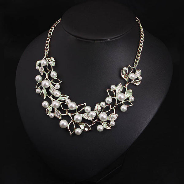 Simulated Pearl Pendants Gold Plated Leaves Statement Necklace Jewelry
