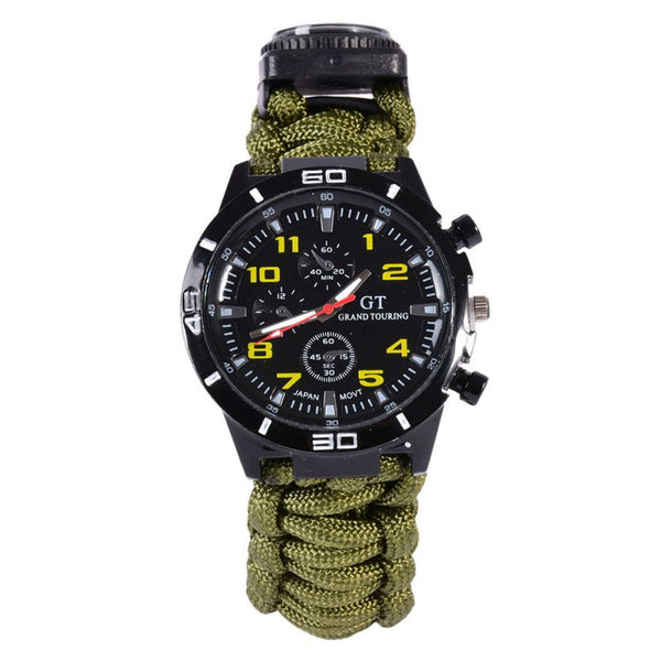 Outdoor Camping 5in1 Travel Kit Watch With Survival Flint Fire Starter Paracord Compass Rescue Whistle Rope - 1000Miles