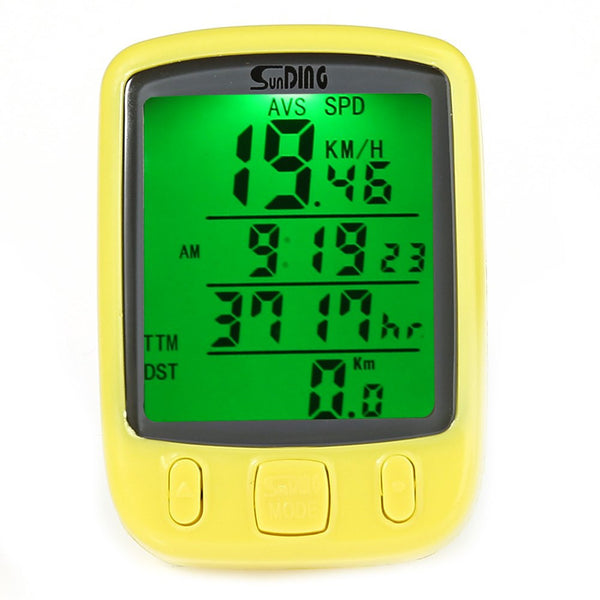 27 Funtions Waterproof Bike Computer Speedometer with LCD Green Backlight - 1000Miles