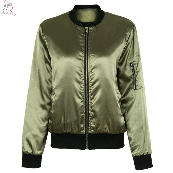 Army Green Satin Sateen Padded Bomber Pilot Jacket - 1000Miles