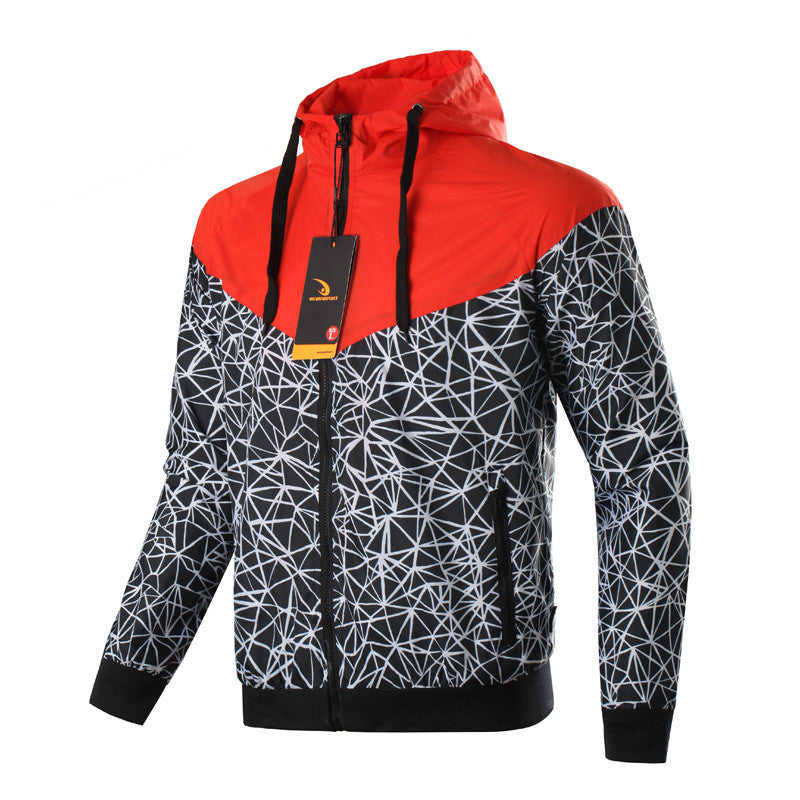 Windbreaker jacket with a hood in red, blue, while and green